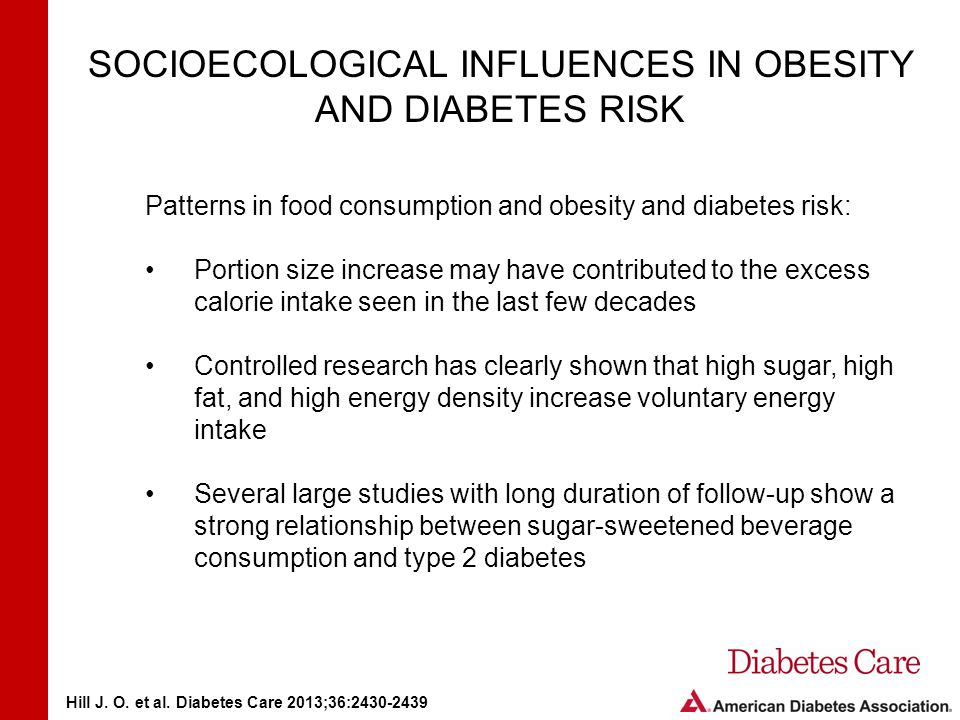 SOCIOECOLOGICAL INFLUENCES IN OBESITY AND DIABETES RISK Patterns in food consumption and obesity and diabetes risk: Portion size increase may have contributed to the excess calorie intake seen in the last few decades Controlled research has clearly shown that high sugar, high fat, and high energy density increase voluntary energy intake Several large studies with long duration of follow-up show a strong relationship between sugar-sweetened beverage consumption and type 2 diabetes Hill J.