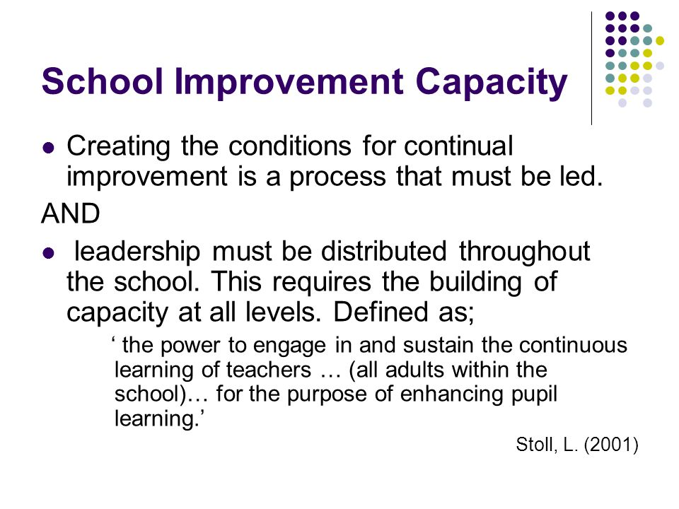 School Improvement Capacity Creating the conditions for continual improvement is a process that must be led.