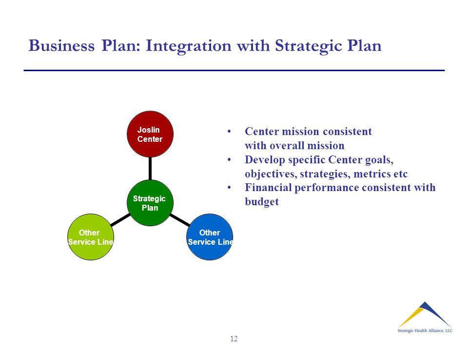 12 Business Plan: Integration with Strategic Plan Strategic Plan Joslin Center Other Service Line Other Service Line Center mission consistent with overall mission Develop specific Center goals, objectives, strategies, metrics etc Financial performance consistent with budget