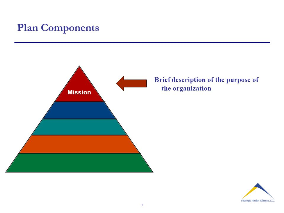 7 Plan Components Mission Brief description of the purpose of the organization