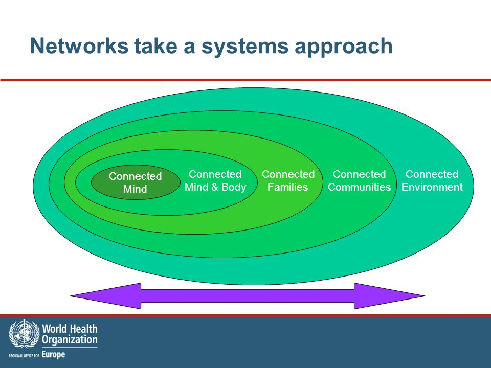 Networks take a systems approach Connected Mind Connected Mind & Body Connected Families Connected Communities Connected Environment