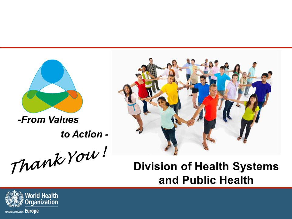 -From Values to Action - Division of Health Systems and Public Health Thank You !