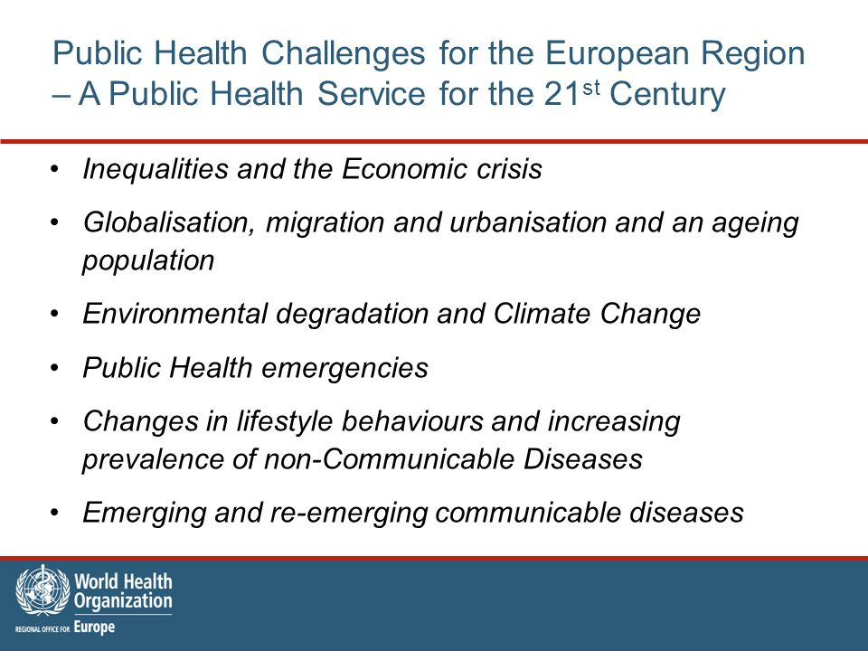 Public Health Challenges for the European Region – A Public Health Service for the 21 st Century Inequalities and the Economic crisis Globalisation, migration and urbanisation and an ageing population Environmental degradation and Climate Change Public Health emergencies Changes in lifestyle behaviours and increasing prevalence of non-Communicable Diseases Emerging and re-emerging communicable diseases