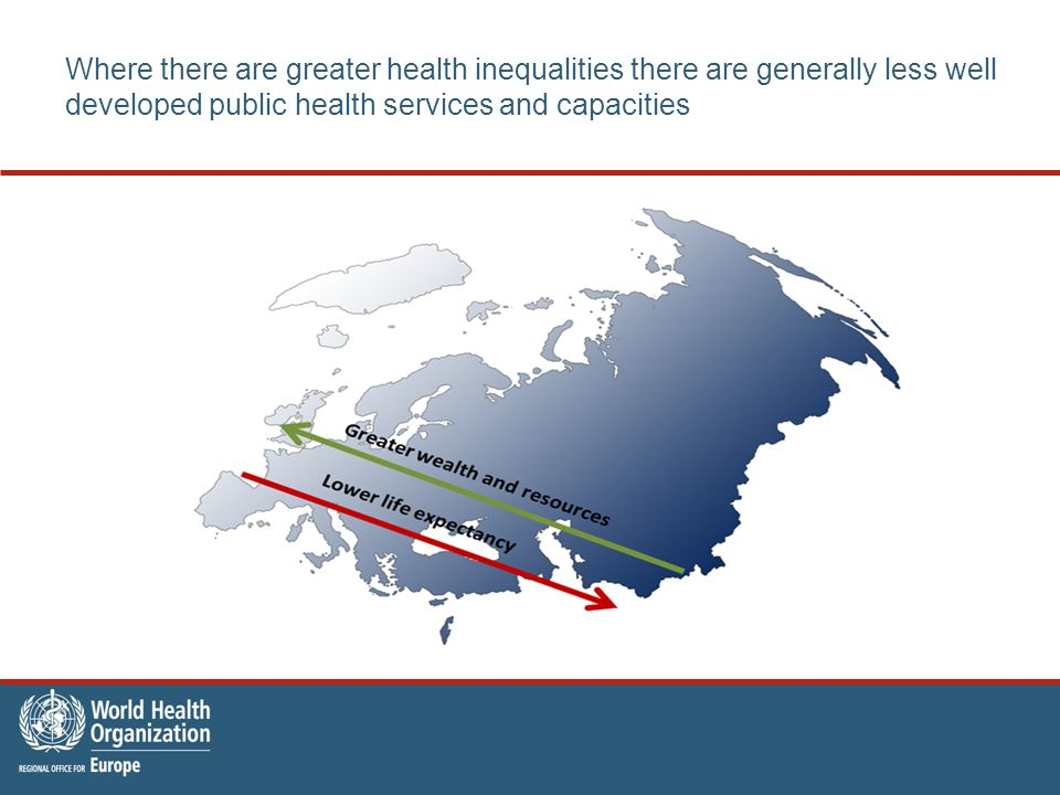 Where there are greater health inequalities there are generally less well developed public health services and capacities