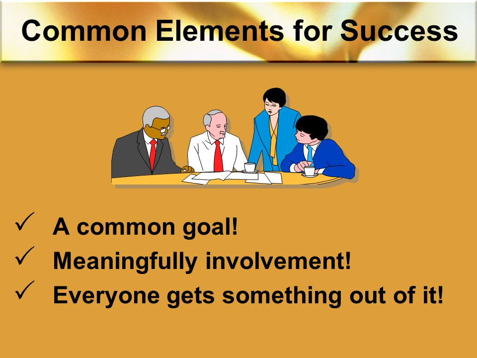 Common Elements for Success  A common goal.  Meaningfully involvement.