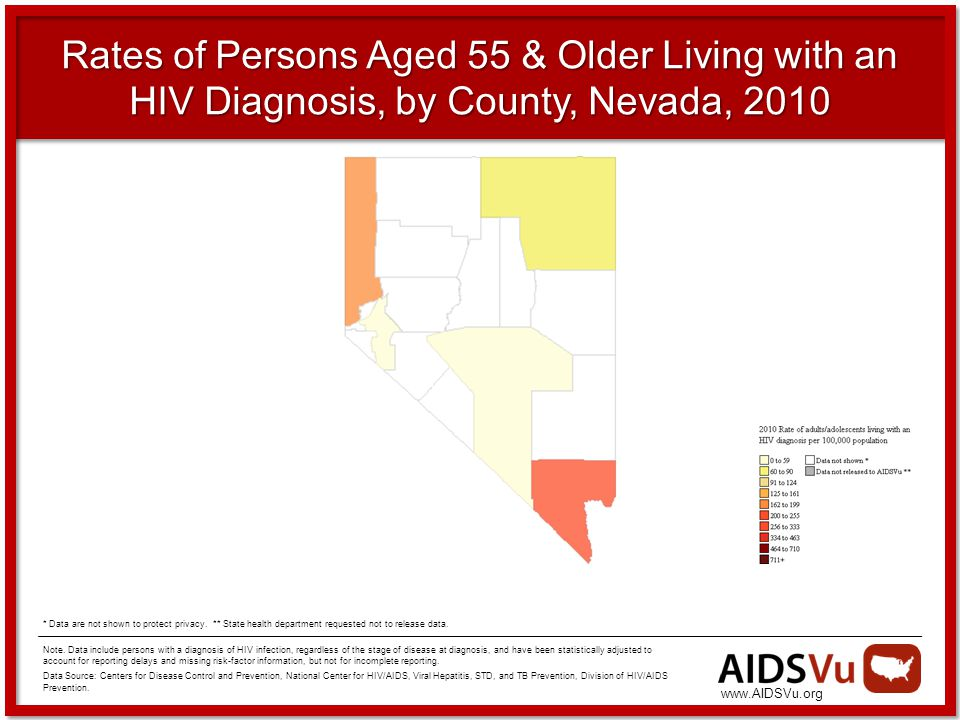 Rates of Persons Aged 55 & Older Living with an HIV Diagnosis, by County, Nevada, 2010 Note.