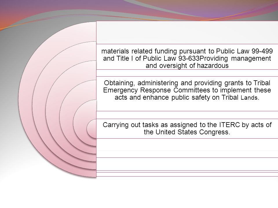 materials related funding pursuant to Public Law and Title I of Public Law Providing management and oversight of hazardous Obtaining, administering and providing grants to Tribal Emergency Response Committees to implement these acts and enhance public safety on Tribal Lands.