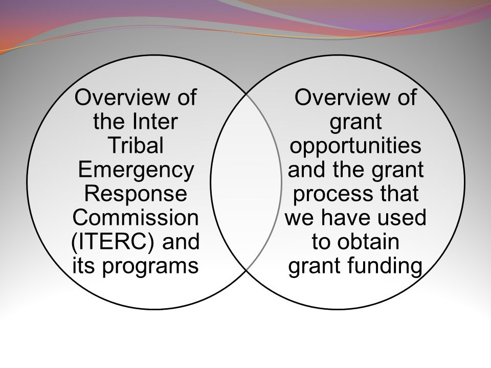 Overview of the Inter Tribal Emergency Response Commission (ITERC) and its programs Overview of grant opportunities and the grant process that we have used to obtain grant funding