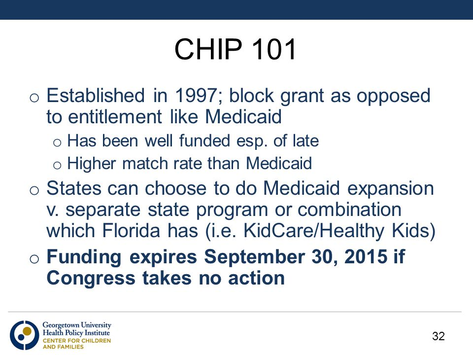 CHIP 101 o Established in 1997; block grant as opposed to entitlement like Medicaid o Has been well funded esp.