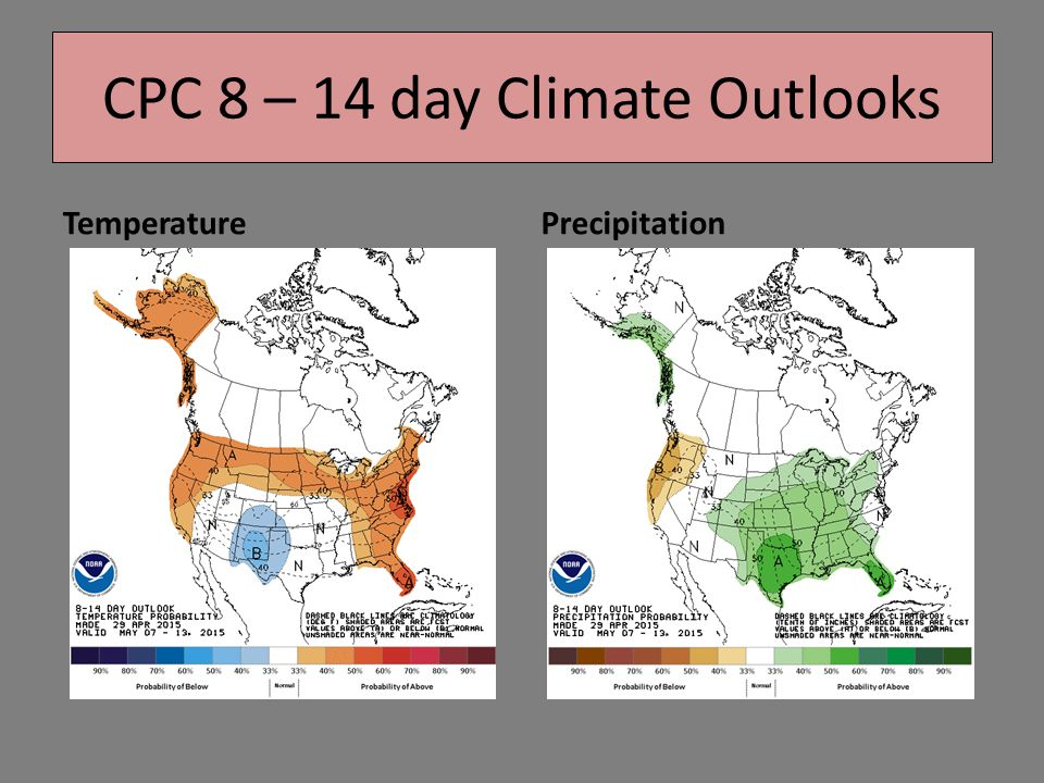 TemperaturePrecipitation CPC 8 – 14 day Climate Outlooks