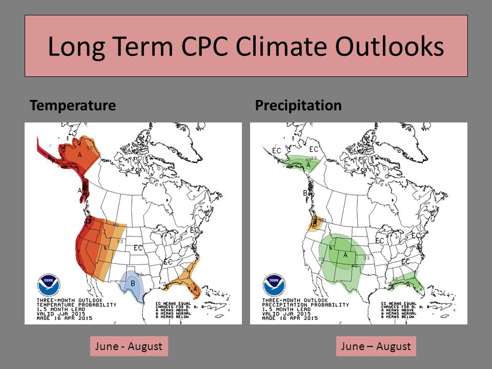 TemperaturePrecipitation Long Term CPC Climate Outlooks June - AugustJune – August