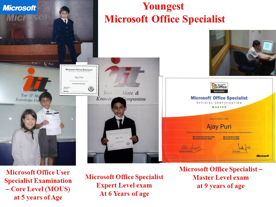 DOB : Hyderabad India Youngest Microsoft Certified Office Specialist ...