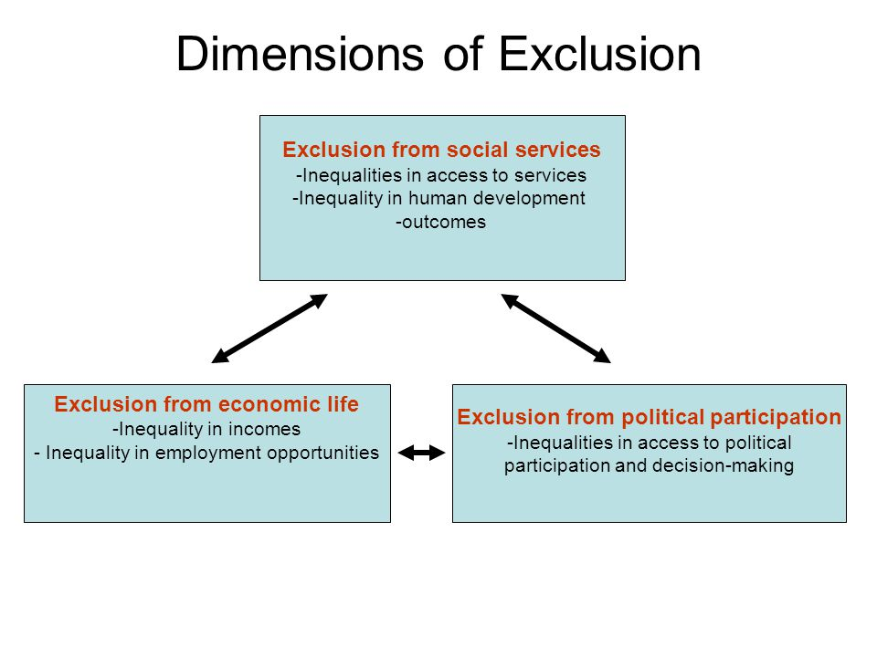 Dimensions of Exclusion Exclusion from social services -Inequalities in access to services -Inequality in human development -outcomes Exclusion from economic life -Inequality in incomes - Inequality in employment opportunities Exclusion from political participation -Inequalities in access to political participation and decision-making
