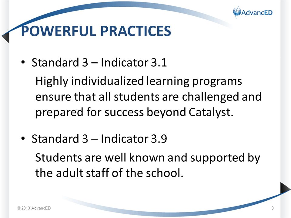 POWERFUL PRACTICES Standard 3 – Indicator 3.1 Highly individualized learning programs ensure that all students are challenged and prepared for success beyond Catalyst.