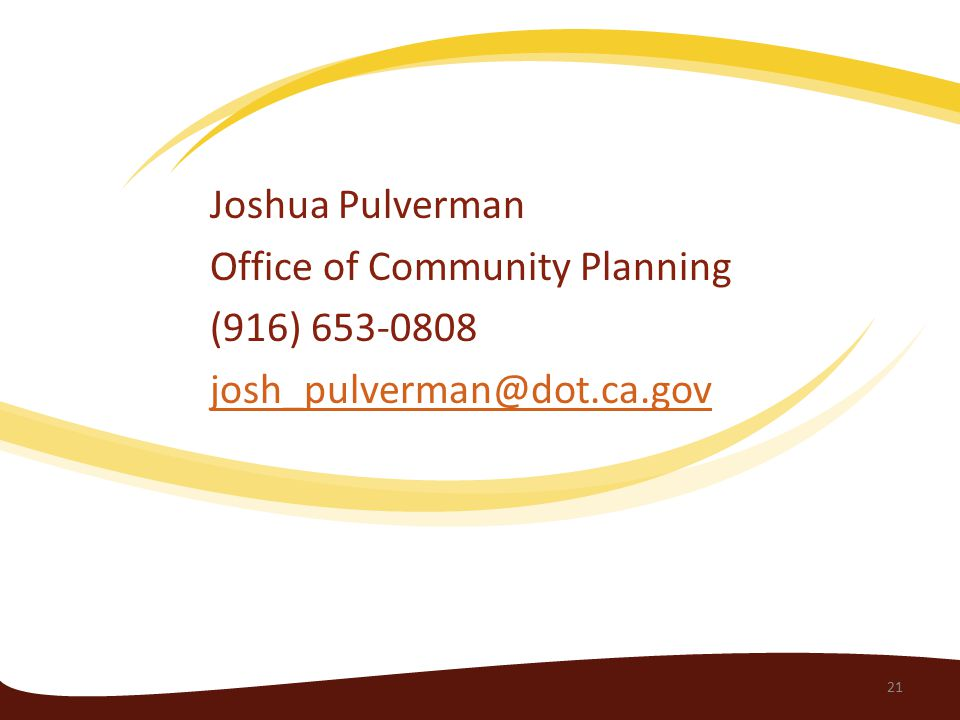 Joshua Pulverman Office of Community Planning (916)