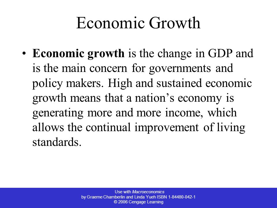 Use with Macroeconomics by Graeme Chamberlin and Linda Yueh ISBN © 2006 Cengage Learning Economic Growth Economic growth is the change in GDP and is the main concern for governments and policy makers.