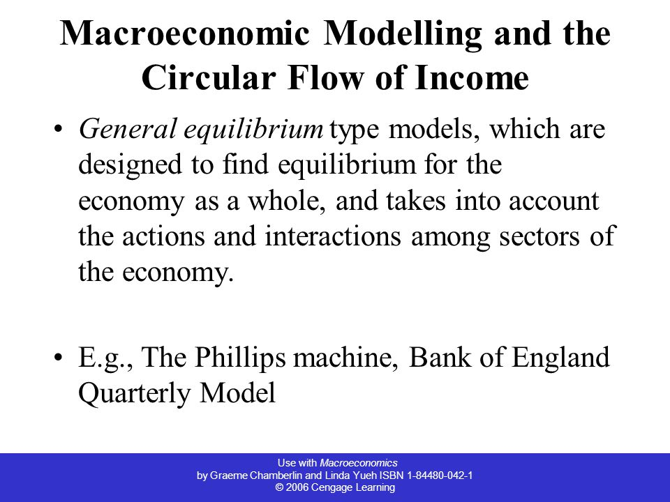 Use with Macroeconomics by Graeme Chamberlin and Linda Yueh ISBN © 2006 Cengage Learning Macroeconomic Modelling and the Circular Flow of Income General equilibrium type models, which are designed to find equilibrium for the economy as a whole, and takes into account the actions and interactions among sectors of the economy.