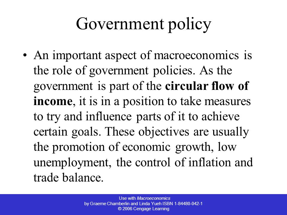 Use with Macroeconomics by Graeme Chamberlin and Linda Yueh ISBN © 2006 Cengage Learning Government policy An important aspect of macroeconomics is the role of government policies.