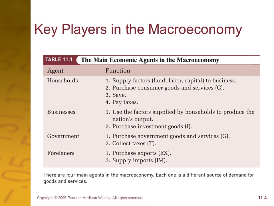 Copyright © 2005 Pearson Addison-Wesley. All rights reserved Key Players in the Macroeconomy
