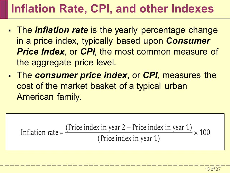 13 of 37 Inflation Rate, CPI, and other Indexes  The inflation rate is the yearly percentage change in a price index, typically based upon Consumer Price Index, or CPI, the most common measure of the aggregate price level.
