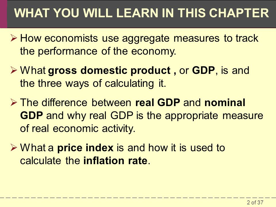 2 of 37 WHAT YOU WILL LEARN IN THIS CHAPTER  How economists use aggregate measures to track the performance of the economy.
