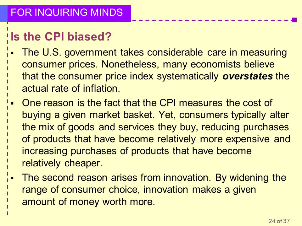 24 of 37 FOR INQUIRING MINDS Is the CPI biased.  The U.S.