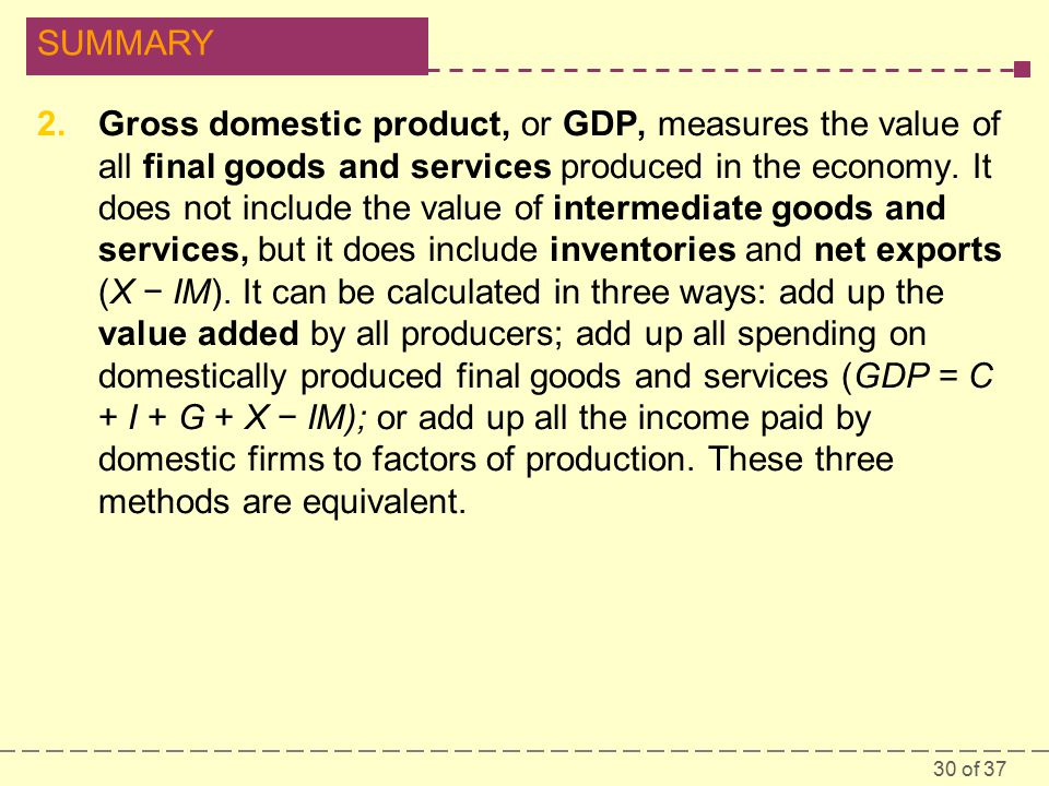 30 of 37 SUMMARY 2.Gross domestic product, or GDP, measures the value of all final goods and services produced in the economy.