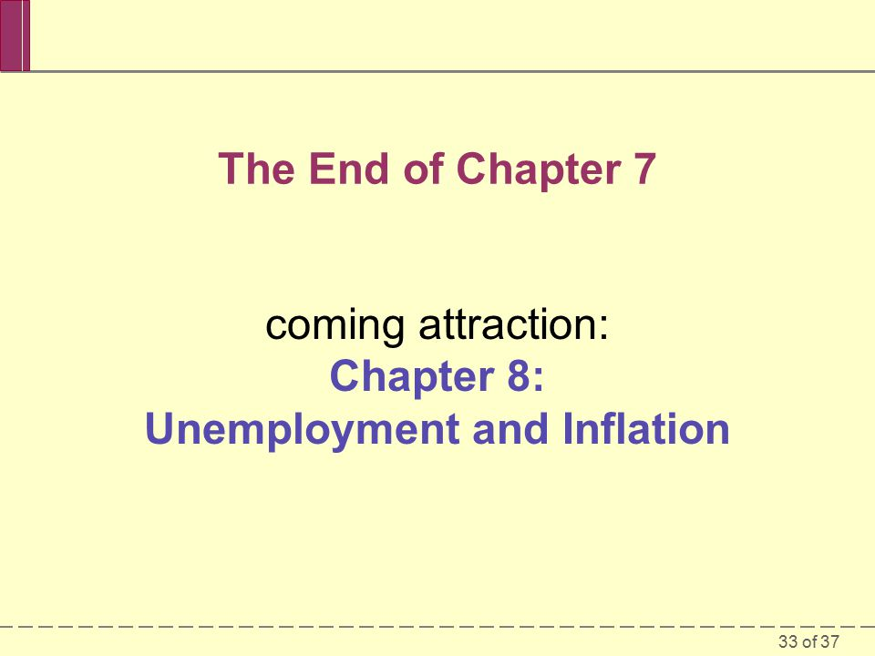 33 of 37 The End of Chapter 7 coming attraction: Chapter 8: Unemployment and Inflation