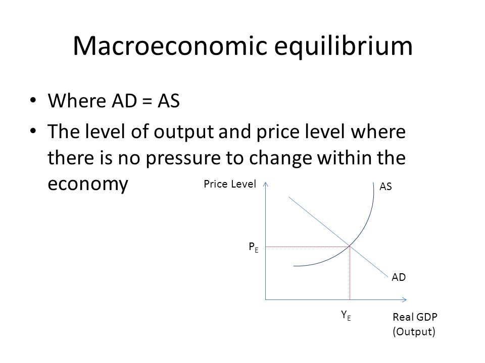 Macroeconomic equilibrium Where AD = AS The level of output and price level where there is no pressure to change within the economy Real GDP (Output) Price Level AD AS PEPE YEYE