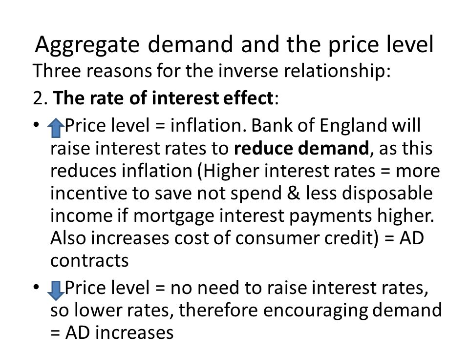 Aggregate demand and the price level Three reasons for the inverse relationship: 2.