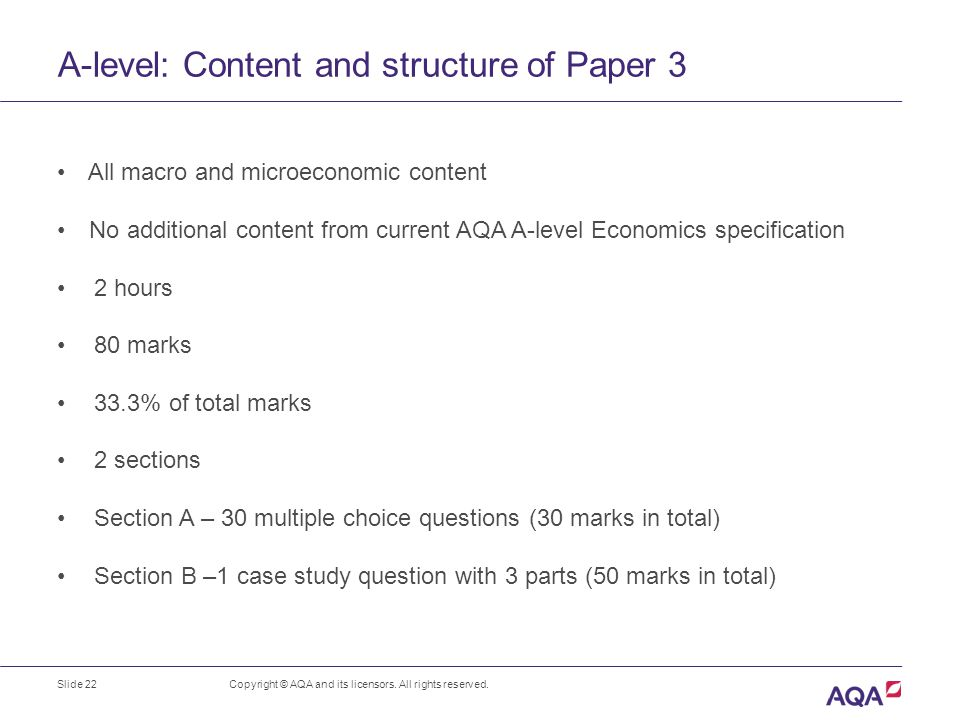 AS/A-level Economics For first teaching in 2015 Copyright