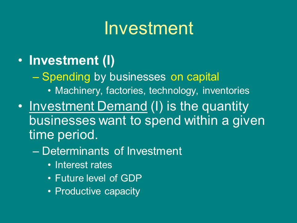 Investment Investment (I) –Spending by businesses on capital Machinery, factories, technology, inventories Investment Demand (I) is the quantity businesses want to spend within a given time period.
