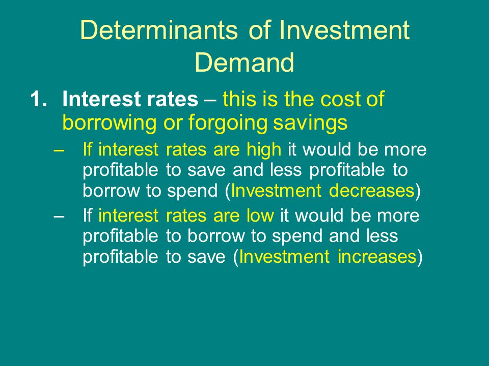 Determinants of Investment Demand 1.Interest rates – this is the cost of borrowing or forgoing savings –If interest rates are high it would be more profitable to save and less profitable to borrow to spend (Investment decreases) –If interest rates are low it would be more profitable to borrow to spend and less profitable to save (Investment increases)