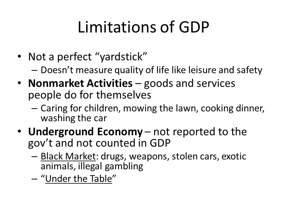 Limitations of GDP Not a perfect yardstick – Doesn't measure quality of life like leisure and safety Nonmarket Activities – goods and services people do for themselves – Caring for children, mowing the lawn, cooking dinner, washing the car Underground Economy – not reported to the gov't and not counted in GDP – Black Market: drugs, weapons, stolen cars, exotic animals, illegal gambling – Under the Table