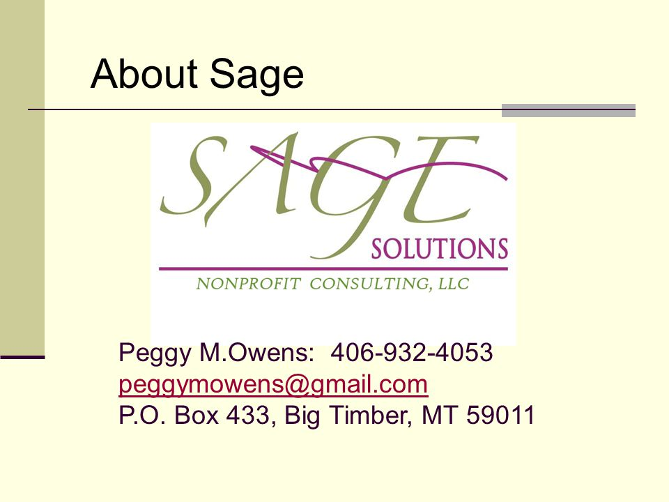 Creating a Fundraising Plan Peggy M  Owens, CFRE Sage Solutions