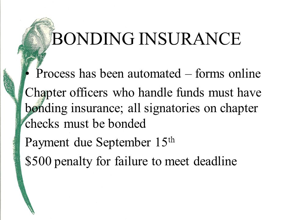 BONDING INSURANCE Process has been automated – forms online Chapter officers who handle funds must have bonding insurance; all signatories on chapter checks must be bonded Payment due September 15 th $500 penalty for failure to meet deadline