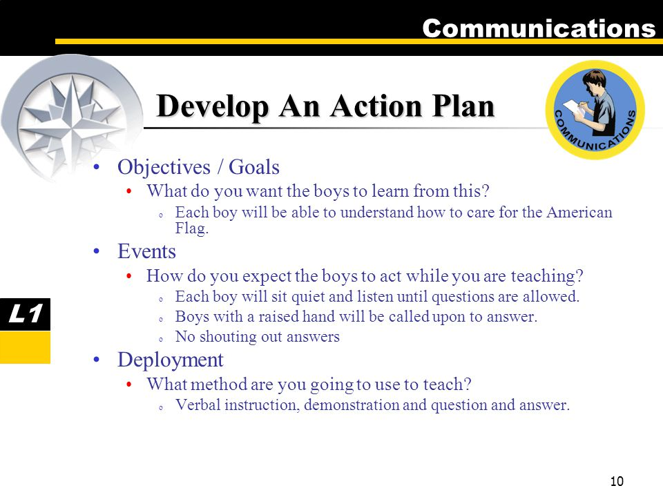 Communications 10 Objectives / Goals What do you want the boys to learn from this.