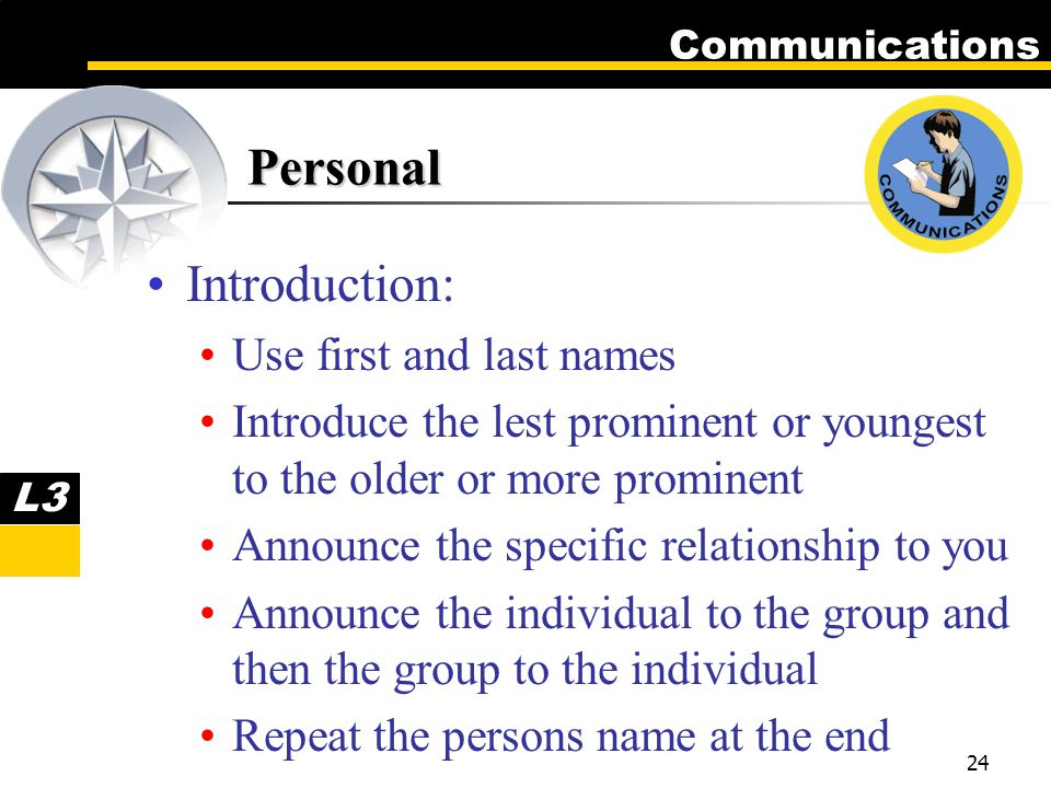 Communications 24 Personal Introduction: Use first and last names Introduce the lest prominent or youngest to the older or more prominent Announce the specific relationship to you Announce the individual to the group and then the group to the individual Repeat the persons name at the end L3
