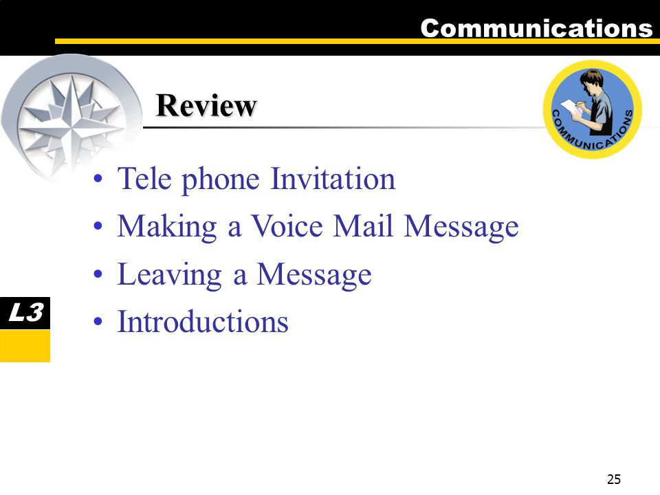Communications 25 Review Tele phone Invitation Making a Voice Mail Message Leaving a Message Introductions L3