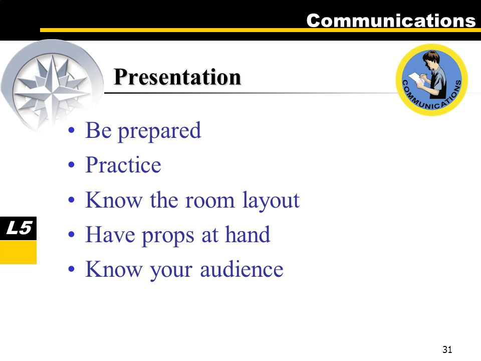 Communications 31 Presentation Be prepared Practice Know the room layout Have props at hand Know your audience L5