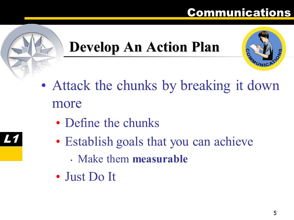 Communications 5 Develop An Action Plan Attack the chunks by breaking it down more Define the chunks Establish goals that you can achieve Make them measurable Just Do It L1