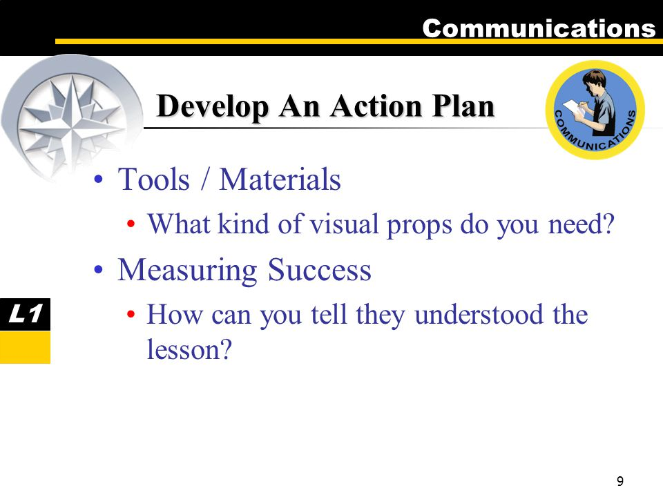 Communications 9 Tools / Materials What kind of visual props do you need.