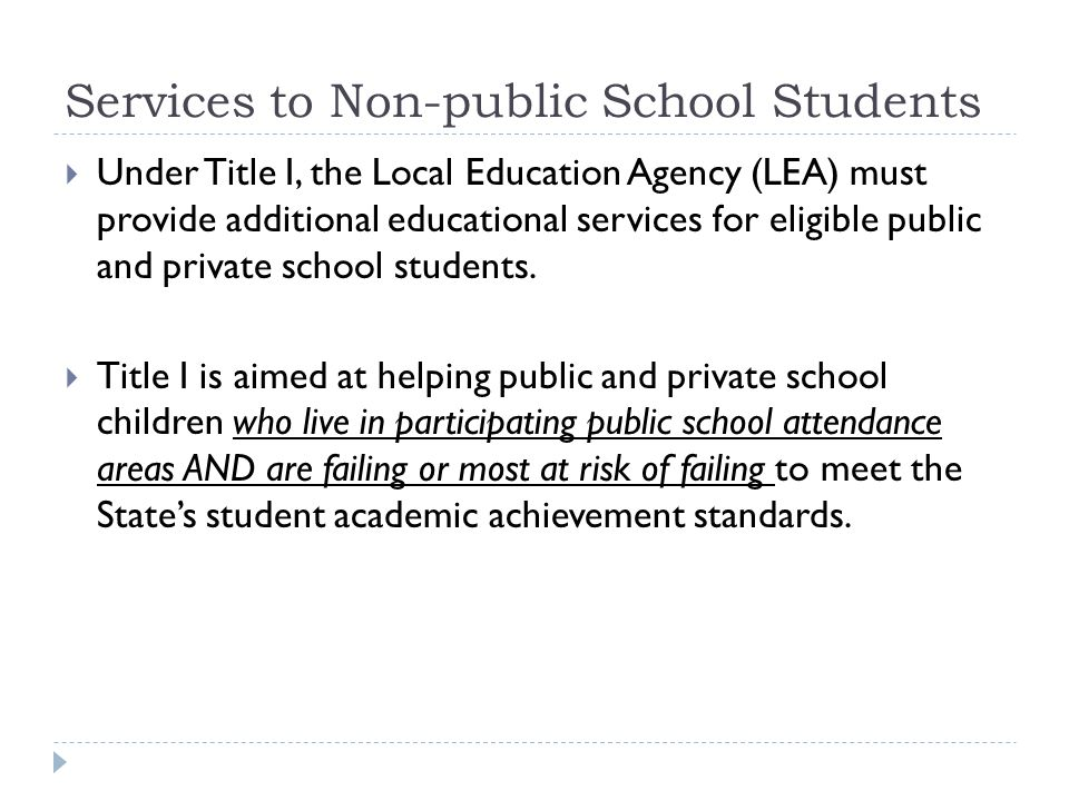 Services to Non-public School Students  Under Title I, the Local Education Agency (LEA) must provide additional educational services for eligible public and private school students.