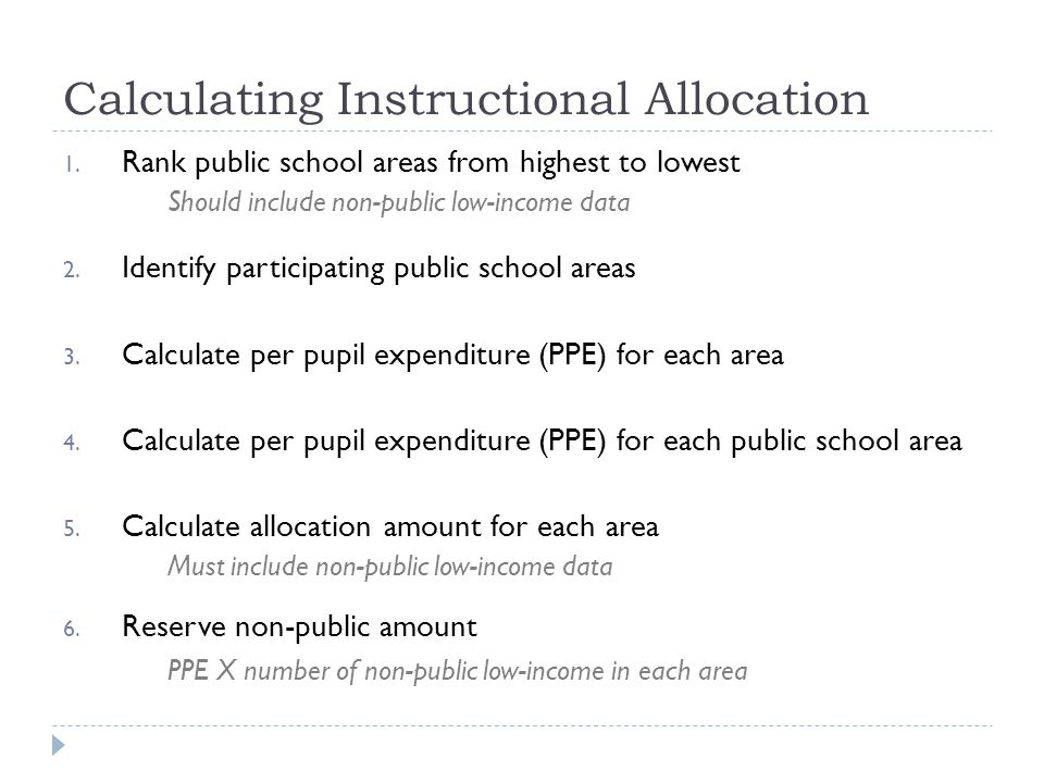 Calculating Instructional Allocation 1.