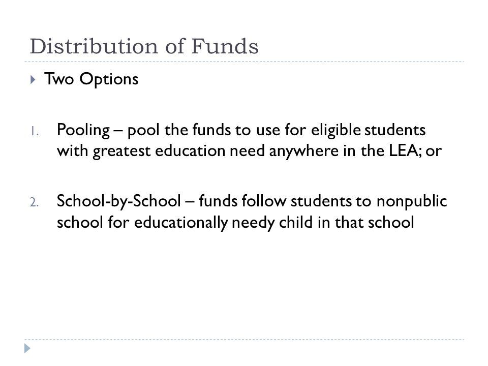 Distribution of Funds  Two Options 1.