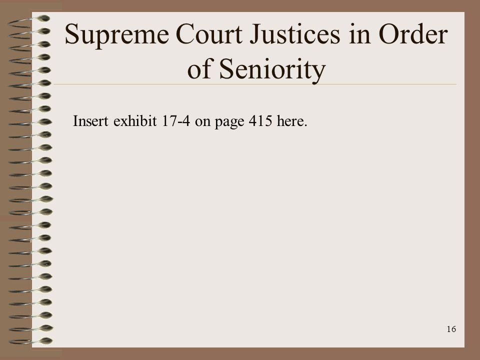 16 Supreme Court Justices in Order of Seniority Insert exhibit 17-4 on page 415 here.