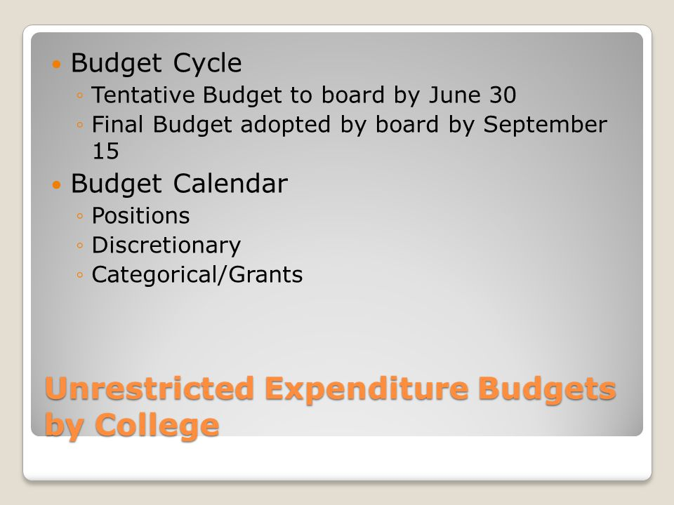 Unrestricted Expenditure Budgets by College Budget Cycle ◦Tentative Budget to board by June 30 ◦Final Budget adopted by board by September 15 Budget Calendar ◦Positions ◦Discretionary ◦Categorical/Grants