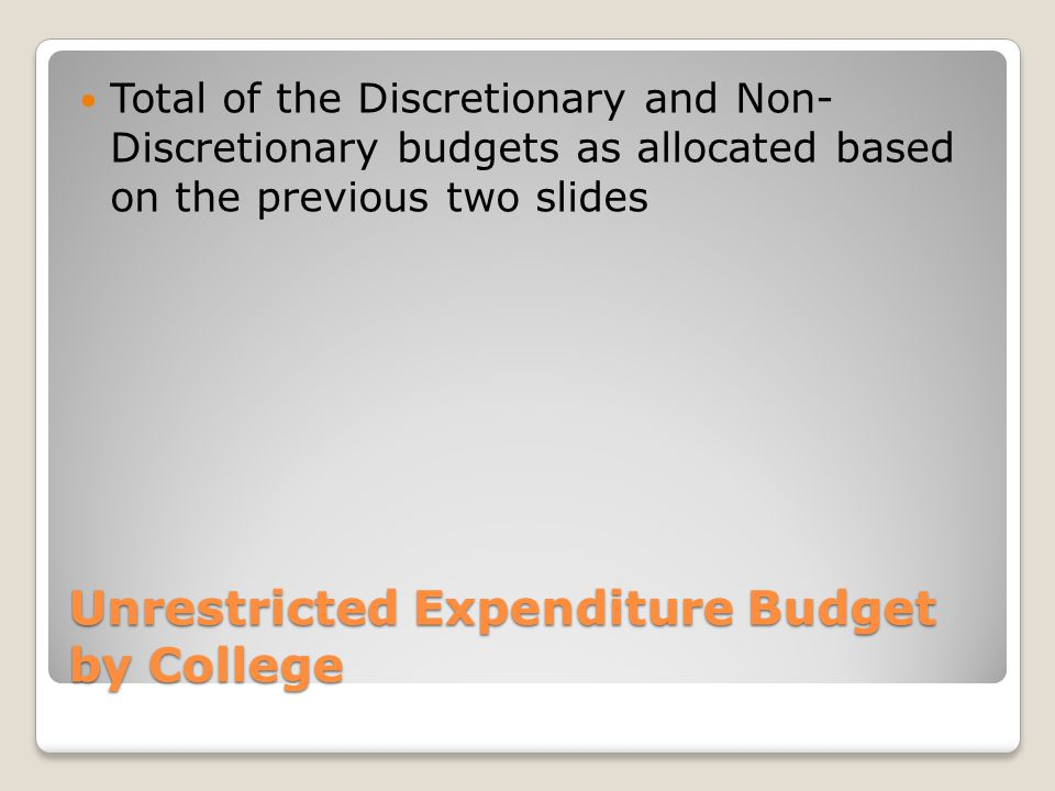 Unrestricted Expenditure Budget by College Total of the Discretionary and Non- Discretionary budgets as allocated based on the previous two slides