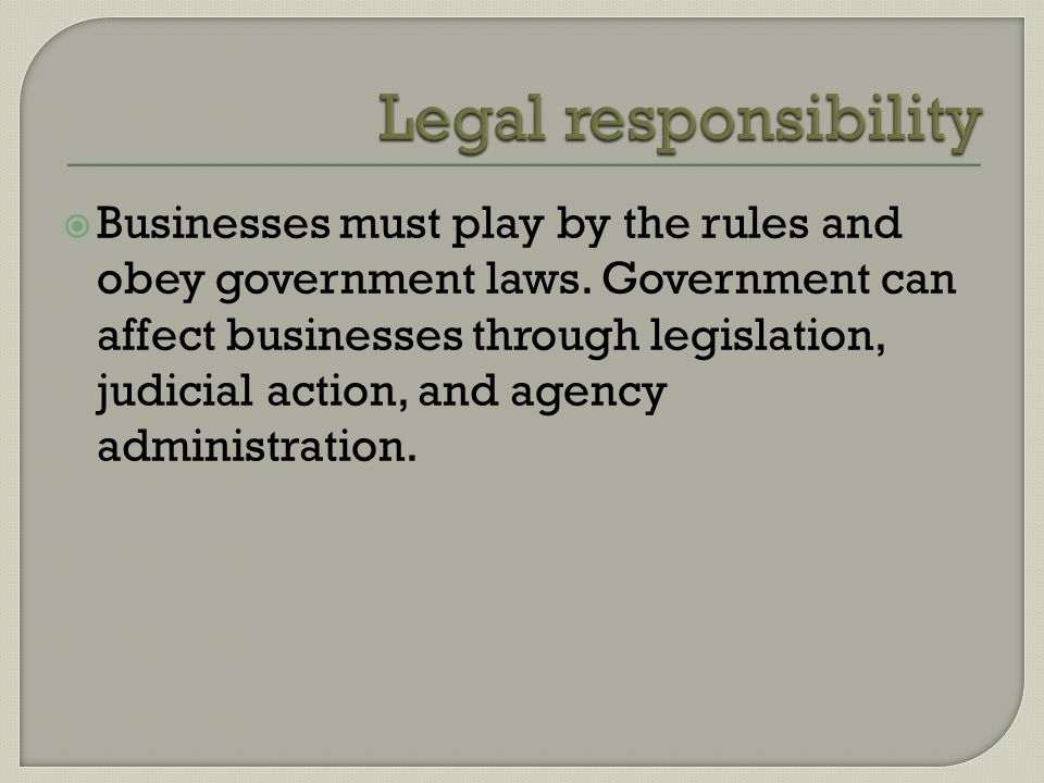  Businesses must play by the rules and obey government laws.