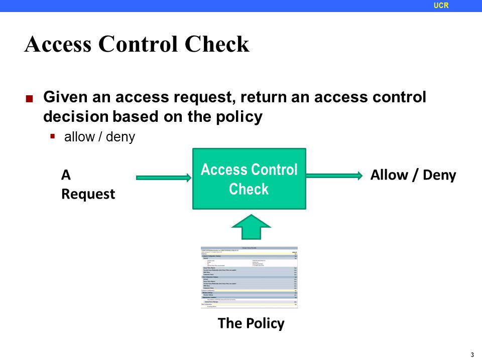 3 UCR Access Control Check Given an access request, return an access control decision based on the policy  allow / deny Access Control Check A Request Allow / Deny The Policy